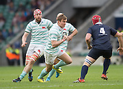 Twickenham, United Kingdom. IIia CHEREZOV, attacking Fergus TARLOR, during the 2015 Men's Varsity Match, Oxford vs Cambridge, RFU Twickenham Stadium, England.<br /> <br /> Thursday  10/12/2015<br /> <br /> [Mandatory Credit. Peter SPURRIER/Intersport Images].