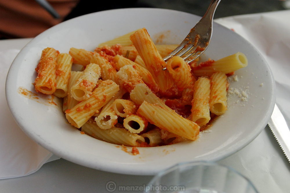 Fusili pasta with tomato sauce and cheese for lunch at a trattoria in Rome, Italy. (Supporting image from the project Hungry Planet: What the World Eats)