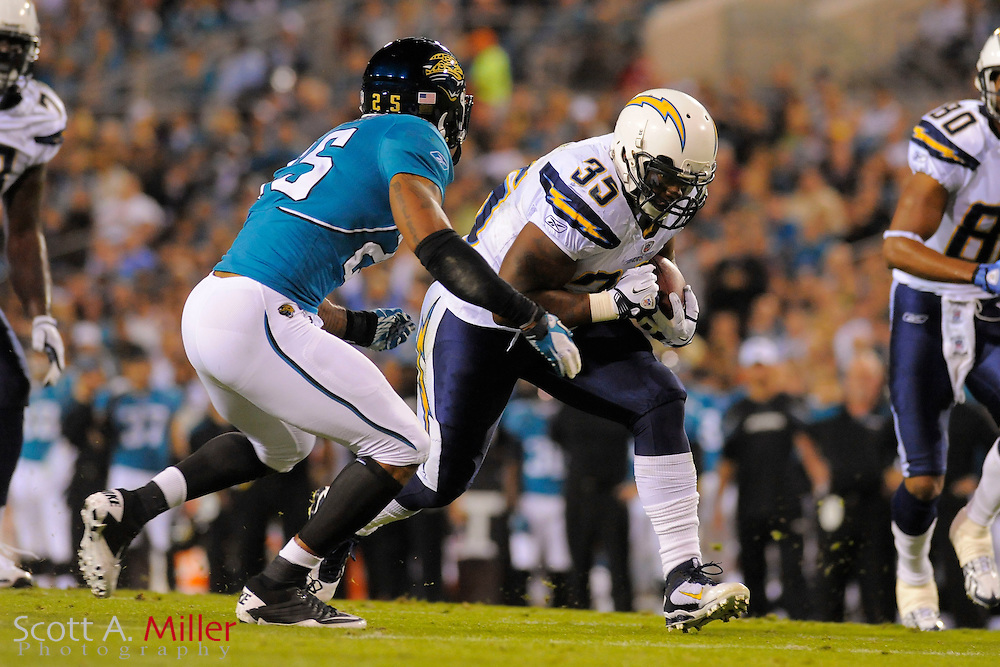 San Diego Chargers running back Mike Tolbert (35) during the Chargers game against the Jacksonville Jaguars at EverBank Field on Dec. 5, 2011 in Jacksonville, Fla. .©2011 Scott A. Miller