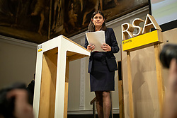 "© Licensed to London News Pictures. 15/01/2020. London, UK. Labour Party leadership candidate Lisa Nandy gives a speech about ""the UK's place in a post-Brexit world"" at RSA House. Photo credit: Rob Pinney/LNP"