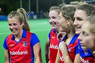 Bilthoven - SCHC - Oranje Rood Dames, Hoofdklasse Hockey Dames, Seizoen 2017-2018, 06-04-2018, SCHC - Oranje Rood 2-1, Xan de Waard (SCHC) en Frederique Derkx (SCHC)<br /> <br /> (c) Willem Vernes Fotografie