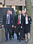 SOUTH BERMONDSEY, LONDON:  Ed Balls, Labour Leadership candidate joins shadow housing minister John Healey and  shadow work and pensions secretary Yvette Cooper  during a visit to a housing development, The Falcon Works development, in central London on 31 August 2010. STEPHEN SIMPSON..