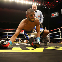 Super Middleweight fighter Derek Edwards (camp) knocks down Badou Jack during Showtime Televisions ShoBox:The Next Generation boxing match at the Event Center at Turning Stone Resort Casino on Friday, February 28, 2014 in Verona, New York.  (AP Photo/Alex Menendez)