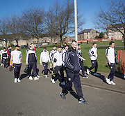 Dundee&rsquo;s injured defender James McPake walks down the road with the squad - Dundee United v Dundee - Ladbrokes Premiership at Tannadice Park <br />  - &copy; David Young - www.davidyoungphoto.co.uk - email: davidyoungphoto@gmail.com