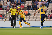Calvin Dickinson and Liam Dawson of Hampshire celebrates the wicket of Steven Davies of Somerset during the NatWest T20 Blast South Group match between Hampshire County Cricket Club and Somerset County Cricket Club at the Ageas Bowl, Southampton, United Kingdom on 18 August 2017. Photo by Dave Vokes.