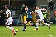 Milan Skriniar of Inter and Edin Dzeko of AS Roma during the Italian championship Serie A football match between FC Internazionale and AS Roma on January 21, 2018 at Giuseppe Meazza stadium in Milan, Italy - Photo Morgese - Rossini / ProSportsImages / DPPI