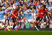 Manchester United Women forward Jessica Sigsworth (9) and Manchester City Women midfielder Jill Scott (8) during the FA Women's Super League match between Manchester City Women and Manchester United Women at the Sport City Academy Stadium, Manchester, United Kingdom on 7 September 2019.