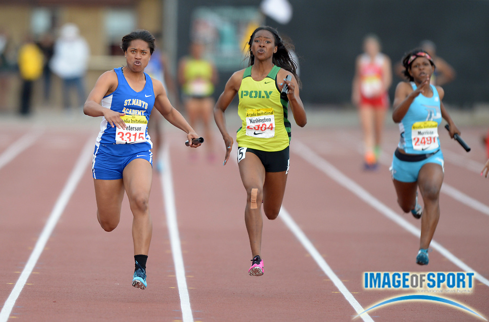 Apr 12, 2014; Arcadia, CA, USA; Sierra Peterson of St. Mary's Academy (left) defeats Ariana Washington of Long Beach Poly (center) on the anchor of the girls 4 x 100m relay, 46.72 to 46.79, in the 47th Arcadia Invitational at Arcadia High.