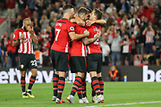 GOAL -2-0 Southampton striker Danny Ings (9) celebrates and is congratulated by Southampton striker Shane Long (7) during the Premier League match between Southampton and Brighton and Hove Albion at the St Mary's Stadium, Southampton, England on 17 September 2018.