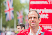 Martin Johnson after finishing the London to Surrey 100. Prudential RideLondon a festival of cycling, with more than 95,000 cyclists, including some of the world's top professionals, participating in five separate events over the weekend of 1-2 August.