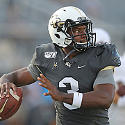 ORLANDO, FL - AUGUST 29: Brandon Wimbush #3 of the UCF Knights warm up during a NCAA football game between the Florida A&M Rattlers and the UCF Knights on August 29 2019 in Orlando, Florida. (Photo by Alex Menendez/Getty Images) *** Local Caption *** Brandon Wimbush