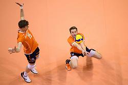 06-01-2020 NED: CEV Tokyo Volleyball European Qualification Men, Berlin<br /> Match Serbia vs. Netherlands 3-0 / Jelte Maan #11 of Netherlands, Gijs van Solkema #15 of Netherlands