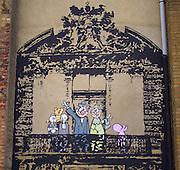 Banksy Street Artist. Stoke Newington Caricature of the Royal family Waving. London..PIC JAYNE RUSSELL. 18.06.08
