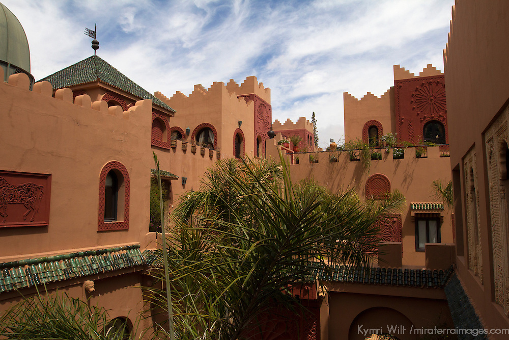 Africa, Morocco, Asni. Main Building at Richard Branson's Kasbah Tamadot luxury retreat in the Atlas Mountains.