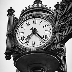 Chicago Macy's Marshall Field's Clock in black and white. The famous Marshall Fields clock is now part of Macy's.