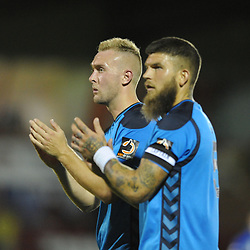 TELFORD COPYRIGHT MIKE SHERIDAN 7/8/2018 - Jon Royla and Shane Sutton applaud the supporters after the National League North fixture between Kidderminster Harriers FC vs AFC Telford United.