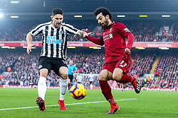 Mohamed Salah of Liverpool takes on Federico Fernandez of Newcastle United - Mandatory by-line: Robbie Stephenson/JMP - 26/12/2018 - FOOTBALL - Anfield - Liverpool, England - Liverpool v Newcastle United - Premier League