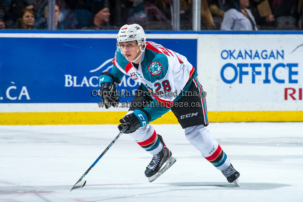 KELOWNA, CANADA - JANUARY 30: Leif Mattson #28 of the Kelowna Rockets skates against the Medicine Hat Tigers on January 30, 2017 at Prospera Place in Kelowna, British Columbia, Canada.  (Photo by Marissa Baecker/Shoot the Breeze)  *** Local Caption ***