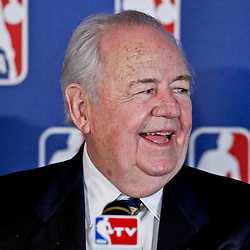 April 16, 2012; New Orleans, LA, USA; New Orleans Hornets and Saints owner Tom Benson at press conference announcing ownership to the Benson's and the awarding of the 2014 All Star game to the city of New Orleans at the New Orleans Arena.   Mandatory Credit: Derick E. Hingle-US PRESSWIRE