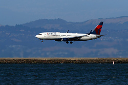 Boeing 737-832 (N3757D) operated by Delta Air Lines landing at San Francisco International Airport (KSFO), San Francisco, California, United States of America