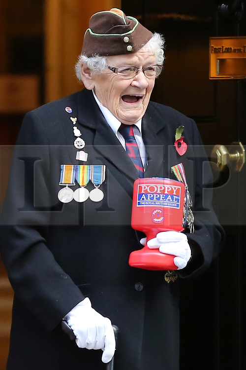 © Licensed to London News Pictures. 25/010/2018. London, UK. Barbara Windsor (93) on the steps of No 10 Downing Street during the launch of the National Poppy Appeal 2018 outside 10 Downing Street. Photo credit: Dinendra Haria/LNP