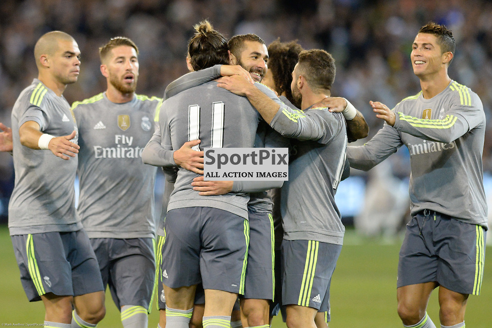 KARIM BENZEMA, Real Madrid celebrates scroring the first goal with GARETH BALE, Real Madrid in the Manchester City v Real Madrid in game 3 of the International Champions Cup Australia at the Melbourne Cricket Ground, Melbourne Australia. 24th July 2015. © Mark Avellino | SportPix.org.uk