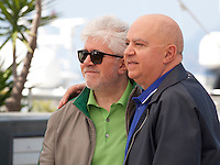 Director Pedro Almodóvar  and Producer Agustín Almodóvar at the Julieta film photo call at the 69th Cannes Film Festival Tuesday 17th May 2016, Cannes, France. Photography: Doreen Kennedy