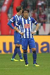 26.10.2013, Allianz Arena, Muenchen, GER, 1. FBL, FC Bayern Muenchen vs Hertha BSC Berlin, 10. Runde, im Bild enttaeuschung bei Hajime HOSOGAI #7 (Hertha BSC) // during the German Bundesliga 10th round match between FC Bayern Munich and Hertha BSC Berlin at the Allianz Arena in Muenchen, Germany on 2013/10/26. EXPA Pictures © 2013, PhotoCredit: EXPA/ Eibner-Pressefoto/ Kolbert<br /> <br /> *****ATTENTION - OUT of GER*****