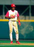 CINCINNATI:  Barry Larkin of the Cincinnati Reds looks on during an MLB game at Riverfront Stadium in Cincinnati, Ohio.  Larkin played for the Reds from 1986-2004.   (Photo by Ron Vesely)   Subject: Barry Larkin.