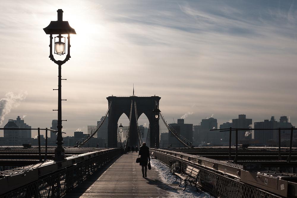 Foot commute on a winter morning, Brooklyn Bridge, New York City