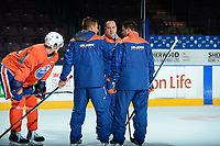 PENTICTON, CANADA - SEPTEMBER 9: Edmonton Oilers' coaching staff on September 9, 2017 at the South Okanagan Event Centre in Penticton, British Columbia, Canada.  (Photo by Marissa Baecker/Shoot the Breeze)  *** Local Caption ***