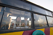Yeouido Island. Fast food restaurant in a retired bus.