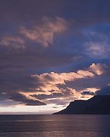 Sunset in Dýrafjörður, West fiords of Iceland.