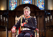 Antic Disposition present<br /> Richard III<br /> by William Shakespeare<br /> at the Temple Church, London, Great Britain <br /> Press photography <br /> 23rd August 2017 <br /> <br /> Toby Manley as Richard III<br /> <br /> <br /> &nbsp;<br /> Directors<br /> Ben Horslen<br /> John Risebero<br /> Designer<br /> John Risebero<br /> Lighting Designer<br /> Tom Boucher<br /> &nbsp;<br /> Composer<br /> James Burrows<br /> &nbsp;<br /> Fight Director<br /> Bethan Clark&nbsp;of Rc-Annie Ltd.<br /> &nbsp;<br /> Stage Manager<br /> Damien Stanton<br /> &nbsp;<br /> Technical Stage Manager<br /> Angus Chisholm<br /> <br /> Photograph by Elliott Franks <br /> Image licensed to Elliott Franks Photography Services