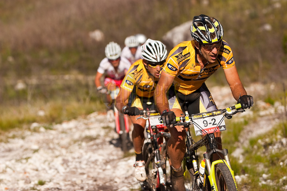 Alban Lakata of MTN Qhubeka during the final stage (stage eight) of the 2010 Absa Cape Epic Mountain Bike stage race held between Oak Valley and Lourensford in the Western Cape, South Africa on the 28 March 2010..Photo by Nick Muzik/SPORTZPICS