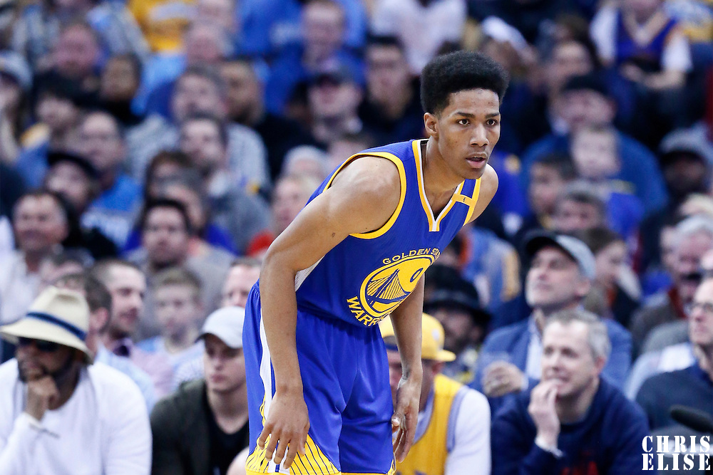 13 February 2017: Golden State Warriors guard Patrick McCaw (0) is seen on defense during the Denver Nuggets 132-110 victory over the Golden State Warriors, at the Pepsi Center, Denver, Colorado, USA.