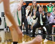 Northridge's Head Coach Doug Springer reacts to a call in Northridge's 59-44 win over West Side Saturday in the LaPorte Regional at LaPorte High School.