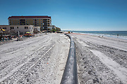 Redington Beach, Pinellas County,  Florida, USA., Monday, 15th October, 2018, Beach Replenishment, Black, Sand Delivery Pipes,  © Peter Spurrier