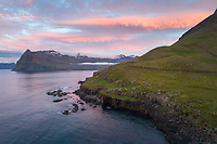 Sunset in Mjóifjörður, East fiords of Iceland.