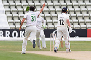 WICKET - Rob Jones is caught off Chris Wright during the Bob Willis Trophy match between Lancashire County Cricket Club and Leicestershire County Cricket Club at Blackfinch New Road, Worcester, United Kingdom on 4 August 2020.