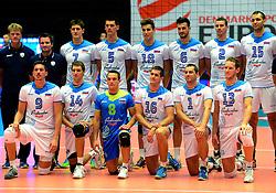 20-09-2013 VOLLEYBAL: EK MANNEN SERVIE - SLOVENIE: HERNING<br /> Team Slovenie<br /> &copy;2013-FotoHoogendoorn.nl