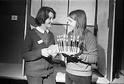 Young Scientists Exhibition.1969..01/01/1969.1st January 1969..The Aer Lingus Young Scientist Exhibition 1969 at the RDS..Picture shows Noell Hewetson (right), showing her exhibit on the investigation of natural dyes from vegetable matter to Mary Sheehan who also has an exhibition on the effects of popular soft drinks on dental health. Both girls are pupils of Scoil Mhuire, Cork.  .