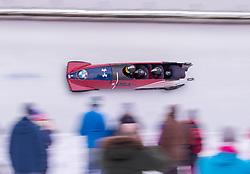 20.01.2019, Olympia Eiskanal, Innsbruck, AUT, BMW IBSF Weltcup Bob, Igls, Herren Viersitzer, 2. Lauf, im Bild Pilot Codie Bascue mit Joshua Williamson, James Reed, Hakeem Abdul-Saboor (USA) // Pilot Codie Bascue with Joshua Williamson James Reed Hakeem Abdul-Saboor of the USA in action during the 2nd run of men's four-man Bobsleigh of the BMW IBSF Bob World Cup at the Olympia Eiskanal in Innsbruck, Austria on 2019/01/20. EXPA Pictures © 2019, PhotoCredit: EXPA/ Johann Groder
