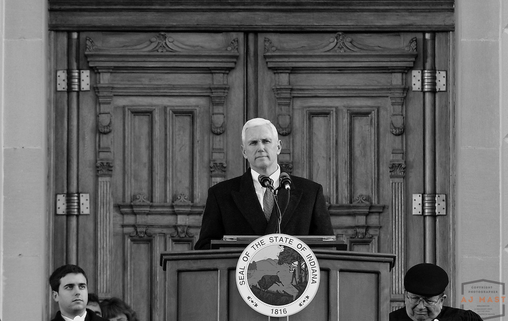Indiana Governor Mike Pence speaks after being sworn in during his inauguration events in Indianapolis, Monday January 14,2013. (Photo by AJ Mast)