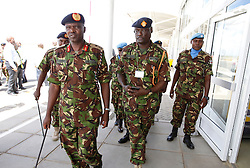 Major General Benjamin Kibiwot (L) and other commanders after receiving the first 100 batch of Kenya Defense Forces troops from the U.N. peacekeeping mission in South Sudan arrive at JKIA on November 9, 2016. The President ordered them to withdraw in response to the sacking by UN of the Kenyan commander of the UNMISS force Lieutenant General Johnson Mogoa Kimani Ondieki. Photo/Jack Owuor