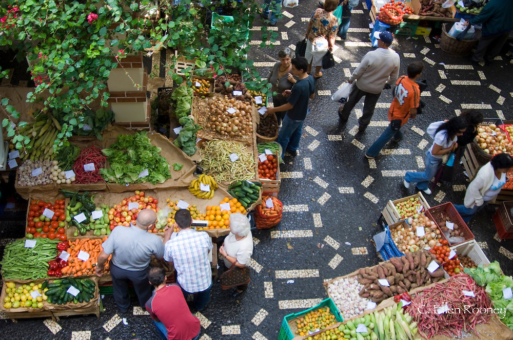 Fresh fruit and vegetables in the market.  Funchal, Madeira, Portugal