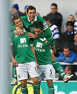 Picture by Paul Chesterton/Focus Images Ltd.  07904 640267.02/01/12.Anthony Pilkington of Norwich scores his sides equalising goal and celebrates during the Barclays Premier League match at Loftus Road Stadium, London.