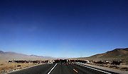 (wild horse gather nevada)  Cold Springs, Nevada Oct. 24, 2006    Ranch hands from the Alpine Clan Mountain Ranch moves cows across US highway 50 as the bovines are herded to a different pasture area within their land. (Suarez, Essdras M/ Globe staff)/ Travel