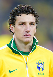 Elano of Brazil singing national anthem during the 2010 FIFA World Cup South Africa Group G Second Round match between Brazil and République de Côte d'Ivoire on June 20, 2010 at Soccer City Stadium in Soweto, suburban Johannesburg, South Africa.  Brazil defeated Ivory Coast 3-1. (Photo by Vid Ponikvar / Sportida)