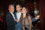 DAVID HARRISON; DAMIAN SOONG; ALEXANDRA MIRO, Victoria Miro hosts Supper to celebrate Frieze and Frieze Masters . One Mayfair, London. 17 October 2013